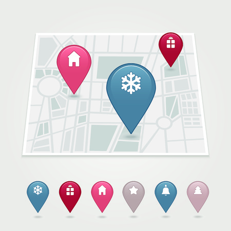 map pin: mapping pins icon has transparency (shadow under the icons) Illustration