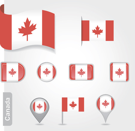 The Canadian flag - set of icons and flags. glossy and matte on a white background. Vector