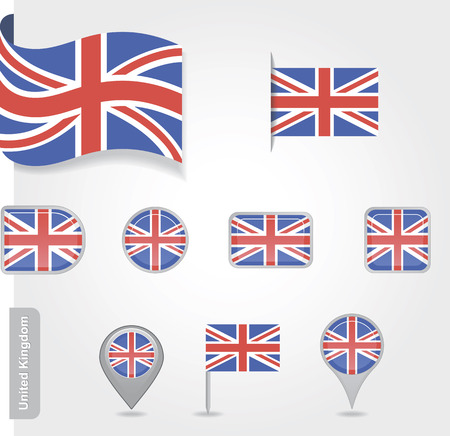 Flag of United Kingdom set Vector