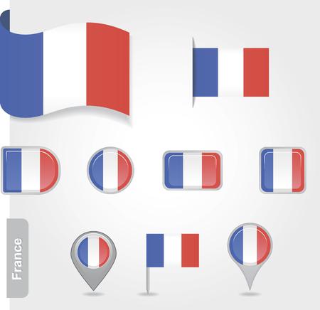 Flag of France set Vector