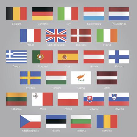 Flags of EU countries set Vector