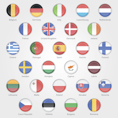 icons depicting the flags of the EU countries set  Vector