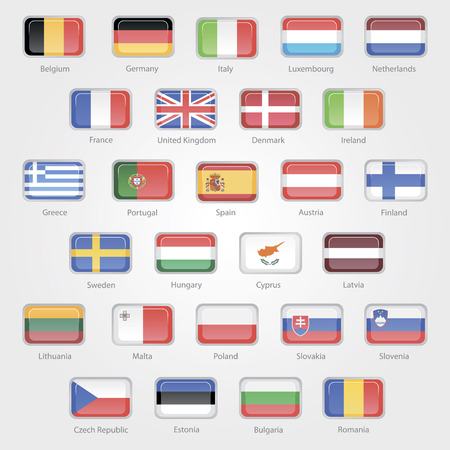 icons depicting the flags of the EU countries set Stock Vector - 26539128