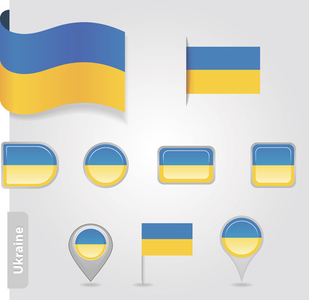 The Ukrainian flag - set of icons and flags. Vector