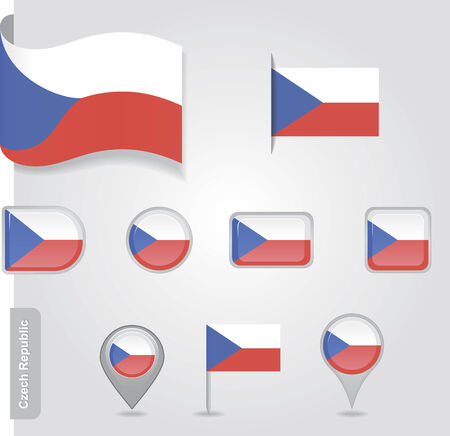 Czech Republic flag icon set Vector