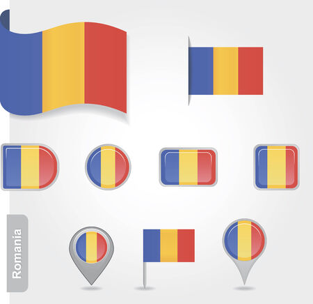Romanian icon set of flags Vector