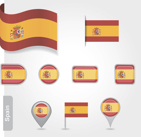 Spanish icon set of flags Vector
