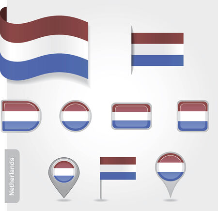 The Netherlands flag - set of icons and flags.  Vector