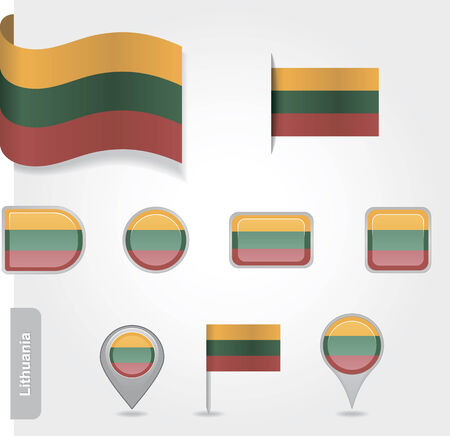 Lithuanian icon set of flags Vector