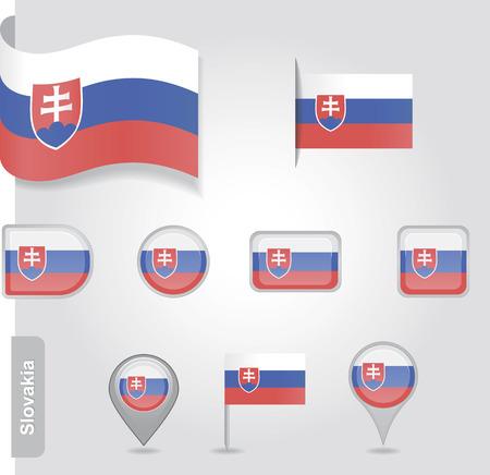 slovakian: The Slovakia flag - set of icons and flags. Illustration