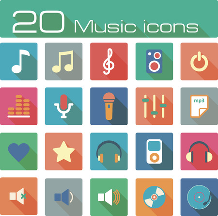 music buttons: The modern music vector icons set