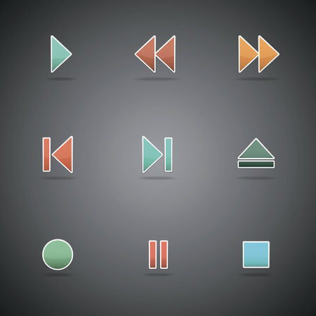 Media player web icons, color buttons  Vector