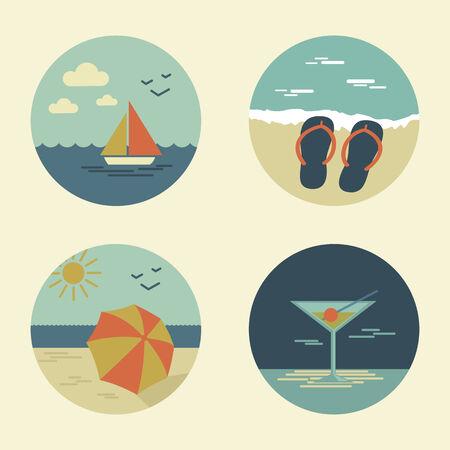 summer icons retro vector set   Vector