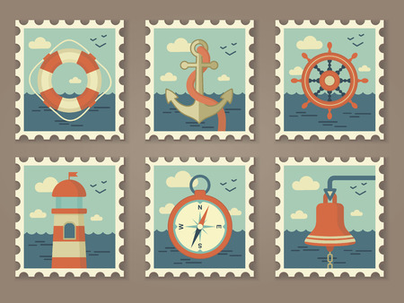 retro marine stamps vector set   Vector