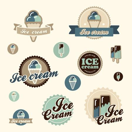 voedingsmiddelen: Reeks uitstekende ijssalon logo badges en labels Stock Illustratie