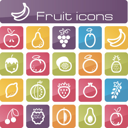 The modern icons fruits set