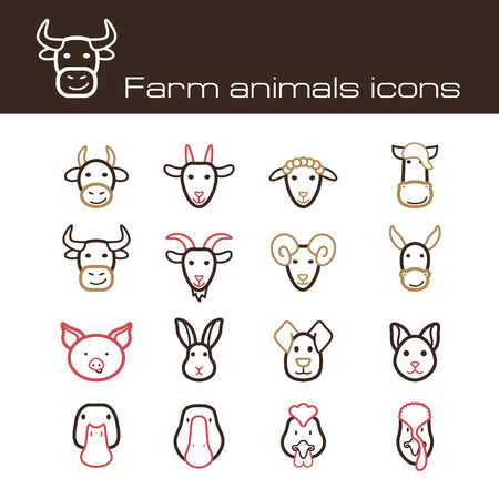 The modern farm icons set  Çizim