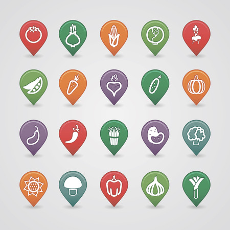 Vegetables mapping pins icons set Vector