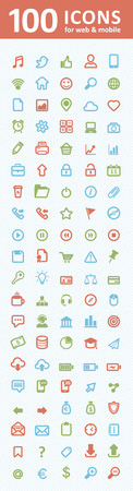 bank cart: 100 icons for web and mobile
