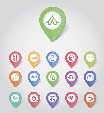 matted: mapping pins icons travel