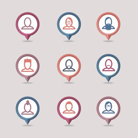 userpic: Userpic mapping pins icon Illustration