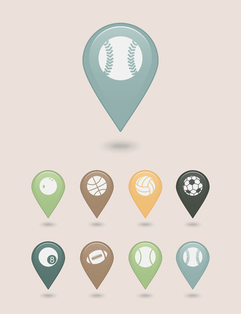 mapping: Sports balls mapping pins icons Illustration