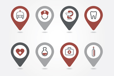 mapping: Medical mapping pins icons
