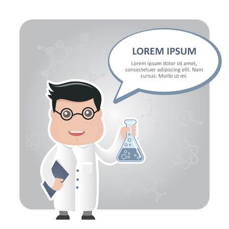chemist: man chemist and a text bubble
