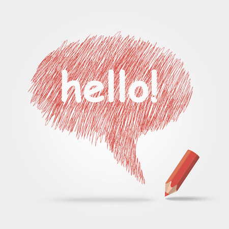 Colored pencils text Hello Ilustrace
