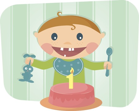 The moden cute baby celebrating birthday eps 10 Vector