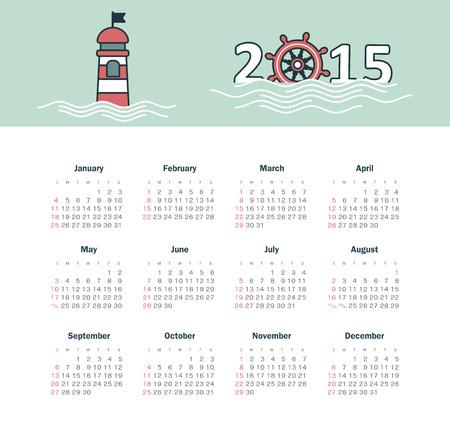 Marine calendar 2015 year with lighthouse Vector
