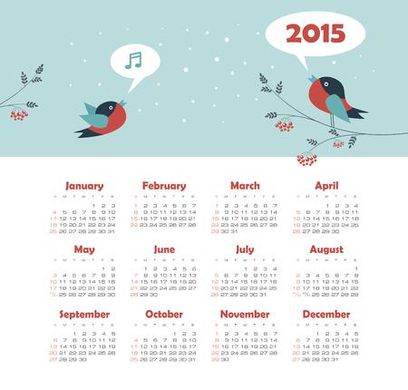 Calendar 2015 year with singing birds  Vettoriali