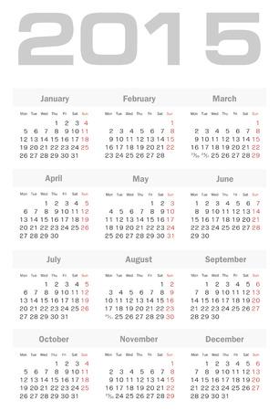 Simple european 2015 year vector calendar Vector