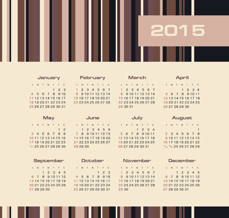 Calendar 2015 year with colored lines