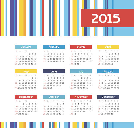 monthly calendar: Calendar 2015 year with colored lines