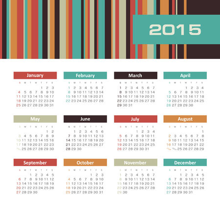 november calendar: Calendar 2015 year with colored lines