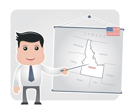 Man with a pointer points to a map of IDAHO Иллюстрация