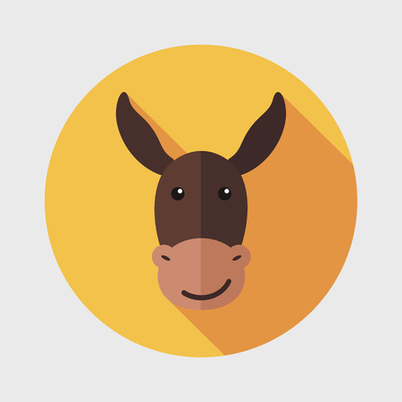 donkey ass: Donkey flat icon with long shadow