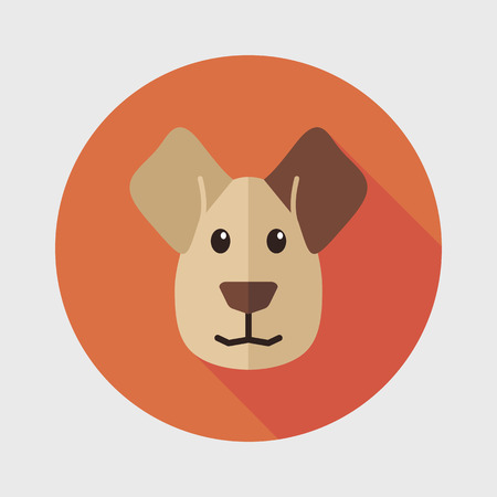 lick: Dog flat icon with long shadow Illustration