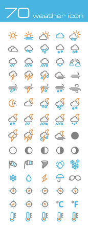 cloudy weather: Weather icons Illustration