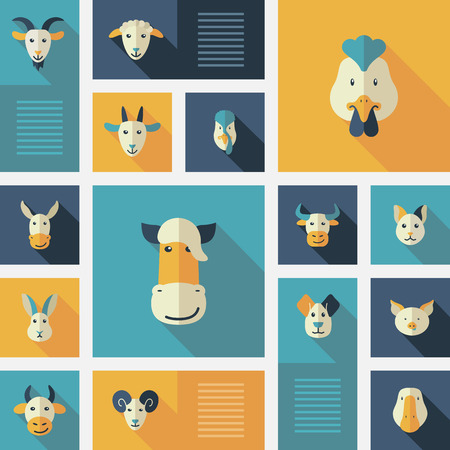 horse cock: Colorful flat farm animals icons with long shadow
