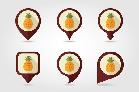 pineapple juice: Pineapple mapping pins icons with long shadow Illustration