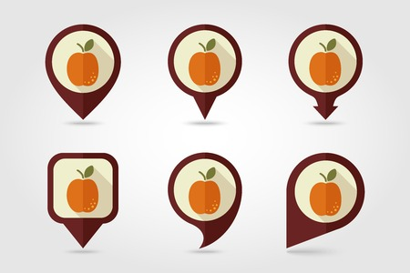 apricot: Apricot mapping pins icons with long shadow Illustration