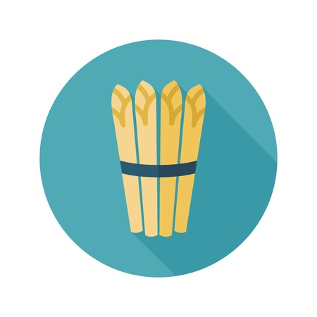 Asparagus flat icon with long shadow Vettoriali