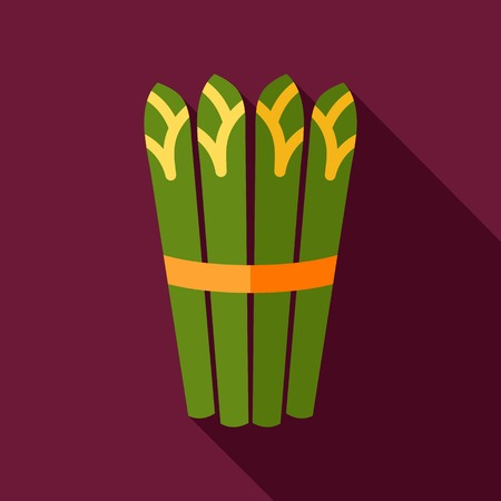 Asparagus flat icon with long shadow Çizim