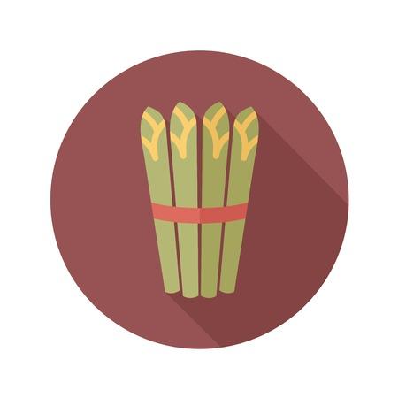 asparagus: Asparagus flat icon with long shadow Illustration