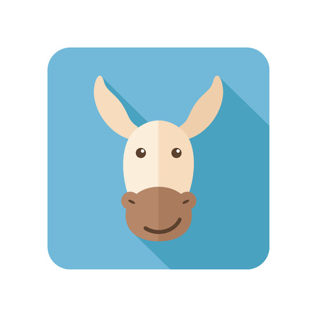 jackass: Donkey flat icon with long shadow