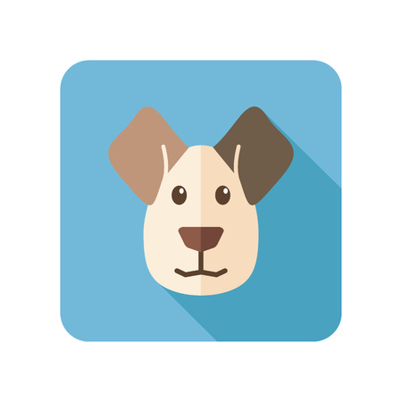 Dog flat icon with long shadow Vettoriali