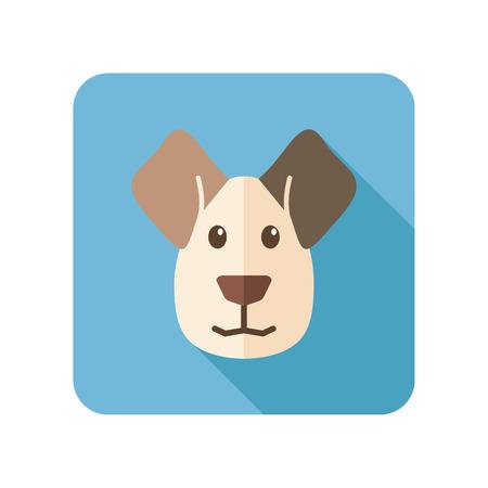 Dog flat icon with long shadow Illustration