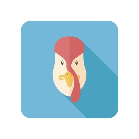 gobbler: Turkey flat icon with long shadow